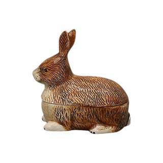 French Majolica Rabbit Pâté Tureen For Sale