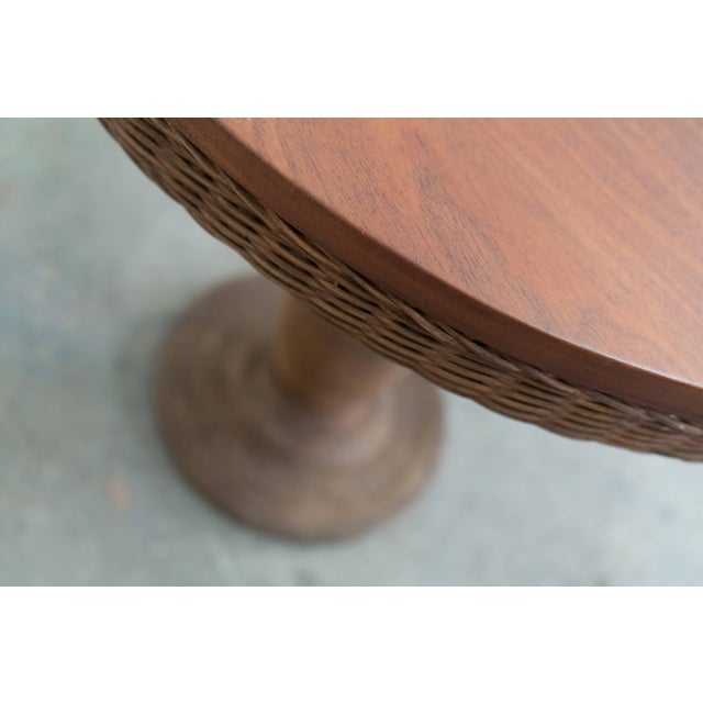 Wicker and Wood Pedestal Table For Sale - Image 4 of 7