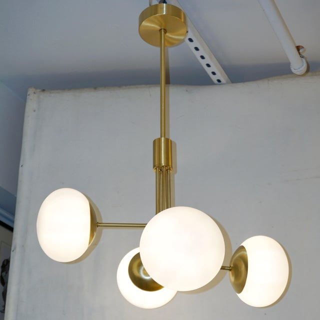 Mid-Century Modern Contemporary Italian Modern Satin Brass & 4 White Murano Glass Globe Chandelier For Sale - Image 3 of 13