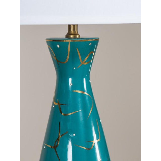 Ceramic Vintage American Atomic Age Glazed Table Lamp circa 1950 For Sale - Image 7 of 7