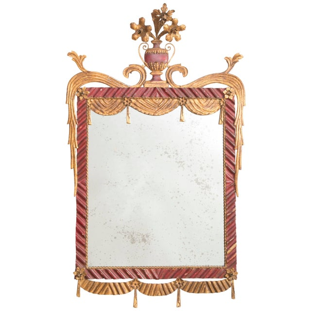 Red Dorothy Draper Style Red and Gilt Tole Mirror For Sale - Image 8 of 8