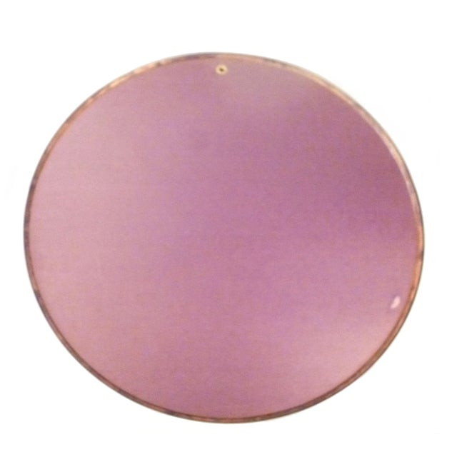 Large Round Mid-Century Brass Mirror For Sale - Image 9 of 9