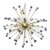 Image of Murano Glass Sputnik Metal Frame Gold Chandelier For Sale