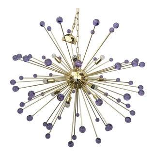 Murano Glass Sputnik Metal Frame Gold Chandelier For Sale