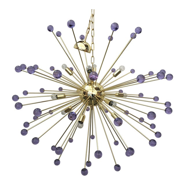 Murano Glass Sputnik Metal Frame Gold Chandelier For Sale