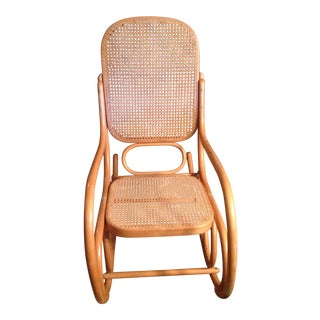 Mid-Century Modern Natural Beech Wood Bentwood and Cane Rocking Chair