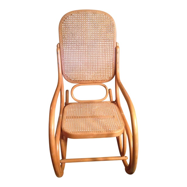 Mid-Century Modern Natural Beech Wood Bentwood and Cane Rocking Chair For Sale