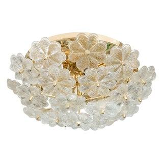 1960s Mid-Century Modern Glass Flower Flush Mount Ceiling Fixture For Sale