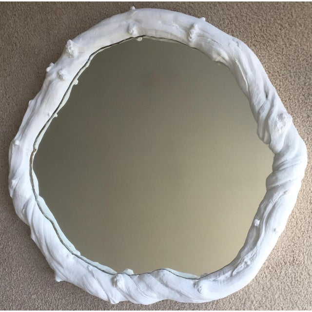 This vintage' faux bois' free-form white plaster wall mirror works beautifully with any decor from Modern to Traditional...