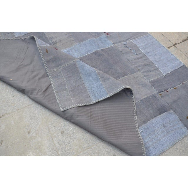 Gray Patchwork Rug - 5′8″ × 7′10″ For Sale In Austin - Image 6 of 6