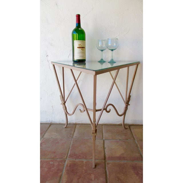 Vintage Mediterranean Wrought Iron and Glass Tall OutDoor Table Bar For Sale In Phoenix - Image 6 of 13