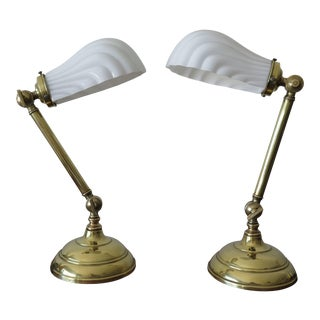 1920s Industrial Faries Brass Table Lamps - a Pair For Sale