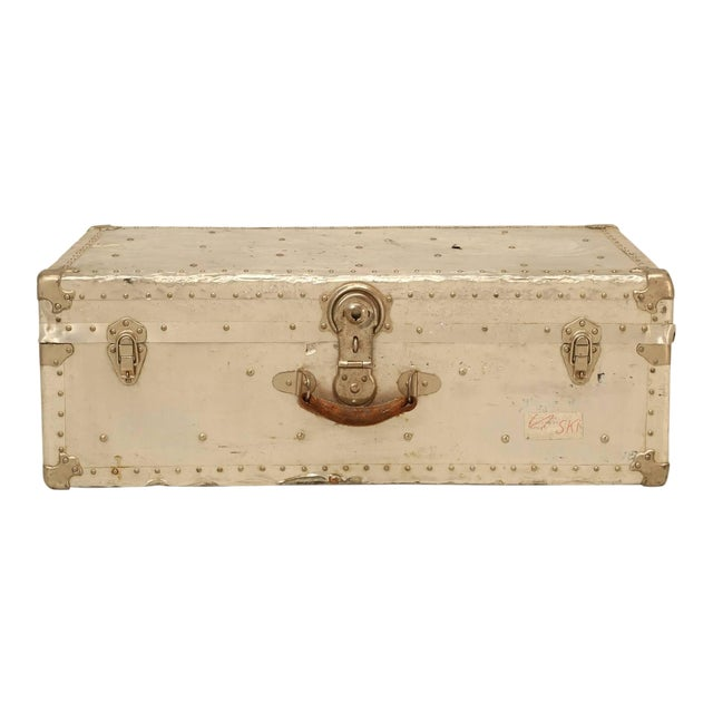 French Metal Trunk For Sale