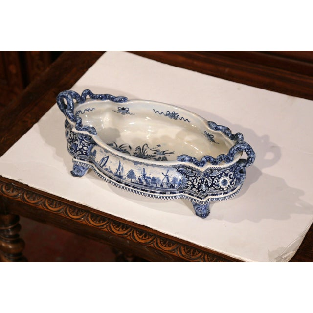 Early 20th Century French Oval Hand-Painted Blue & White Jardinière For Sale - Image 4 of 11