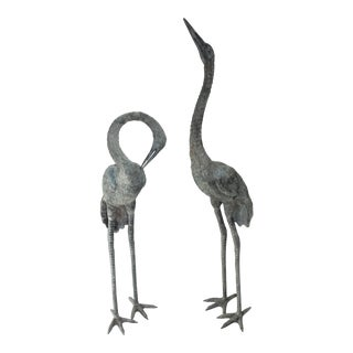 "Bronze Crane Figures 50"" High - a Pair For Sale"