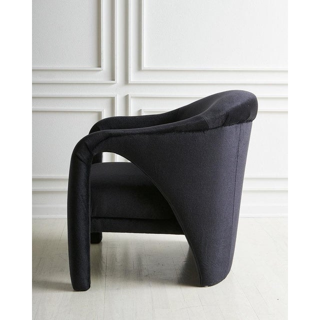 Mid 20th Century Vladimir Kagan Style Lounge Chair in Black Mohair For Sale - Image 5 of 7