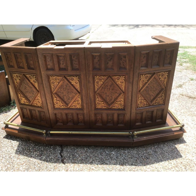 Vintage Carved Chinese Oriental Style Folding Expandable Bar Cabinet For Sale - Image 4 of 12