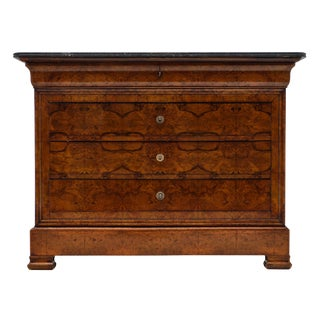 Louis Philippe Antique French Chest With Marble Top For Sale