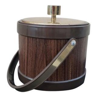 Vintage Mid-Century Faux Walnut Ice Bucket by Kromex For Sale