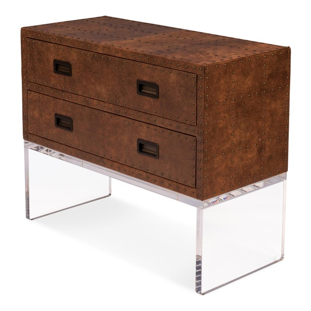 Contemporary Sarreid Brass Tack Trunk on Stand For Sale - Image 3 of 8