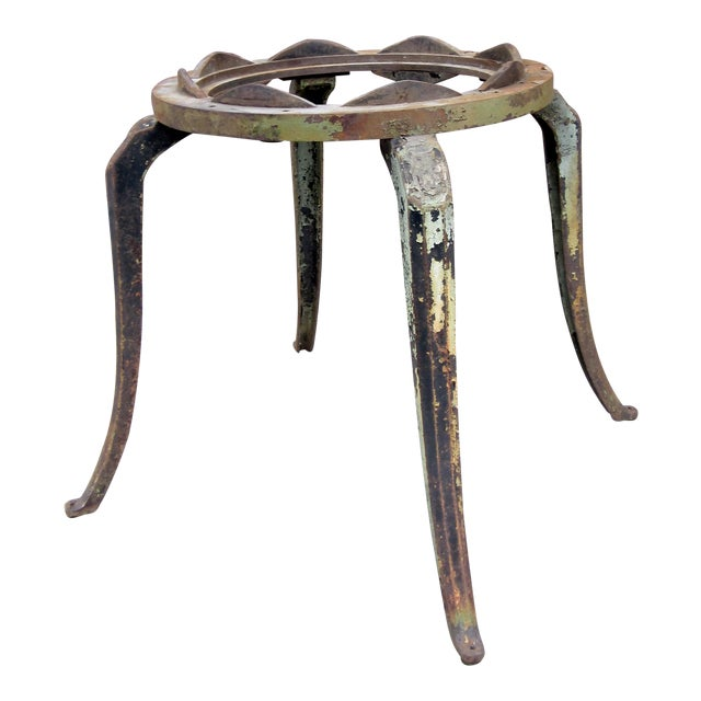 19th Century Industrial Machinery Converted Cast Iron Table Base With Glass Top For Sale