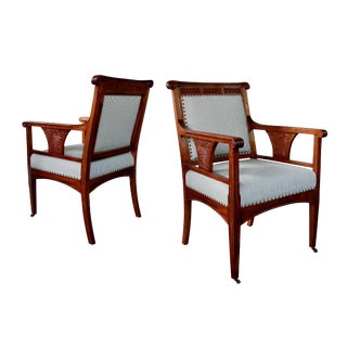 Rare Pair of French Art Nouveau Carved Mahogany Armchairs For Sale