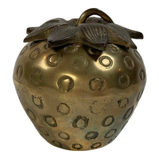 Brass Strawberry Lidded Jar For Sale