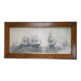 "Early 20th Century Antique Framed Julian O. Davidson ""Battle of Lake Erie"" Print For Sale"