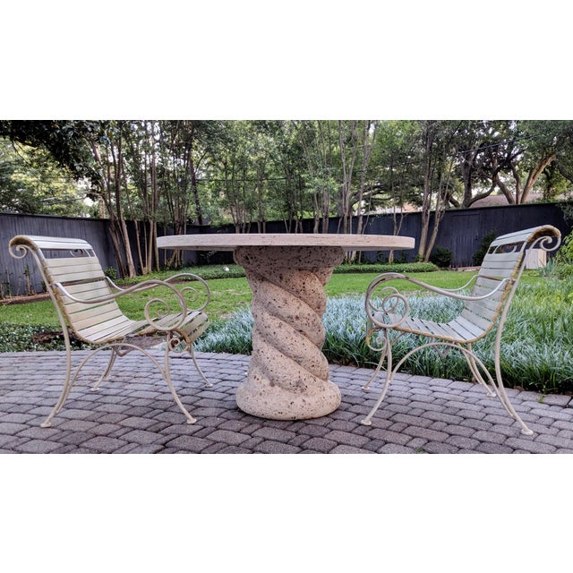 1980s Contemporary Round Travertine Dining Table For Sale - Image 10 of 11