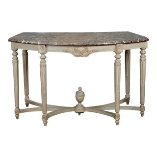 Monumental French Painted Console Demi-Lune Table For Sale