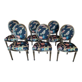 Black Chairs With Multicolor Birds- Set of 6 For Sale
