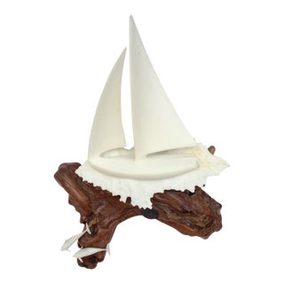 Mid-Century Sailboat & Dolphins Sculpture on Natural Wood Base For Sale