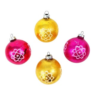 Vintage Shiny Brite Atomic Space Age Science Atom Ornaments-Set of 4 For Sale