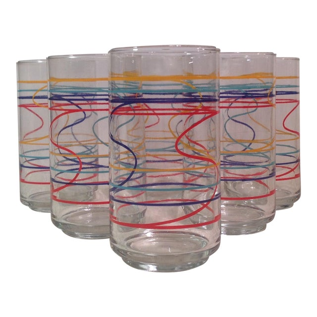 Mid-Century Modern Multicolored Glasses - Set of 6 For Sale