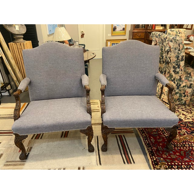 19th Century Mahogany Georgian Library Chairs - a Pair For Sale - Image 9 of 9