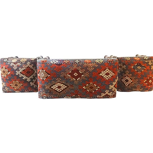 Antique Caucasian Upholstered Stools - 3 - Image 6 of 8
