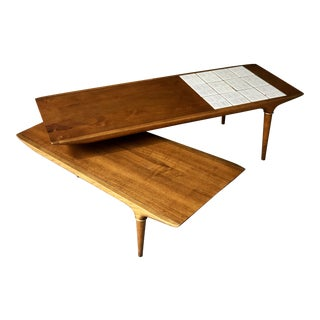 "Mid Century Modern Lane Switchblade Boomerang Tile Top Coffee Table - Lane ""Cosmopolitan"" Line Mediterranean Spanish Danish Style For Sale"