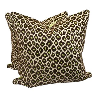 Brown and Green Leopard Print Woven Fabric Pillows - A Pair