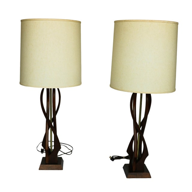 Pair Mid Century Sculptural Teak Wood Lamps - Image 9 of 9