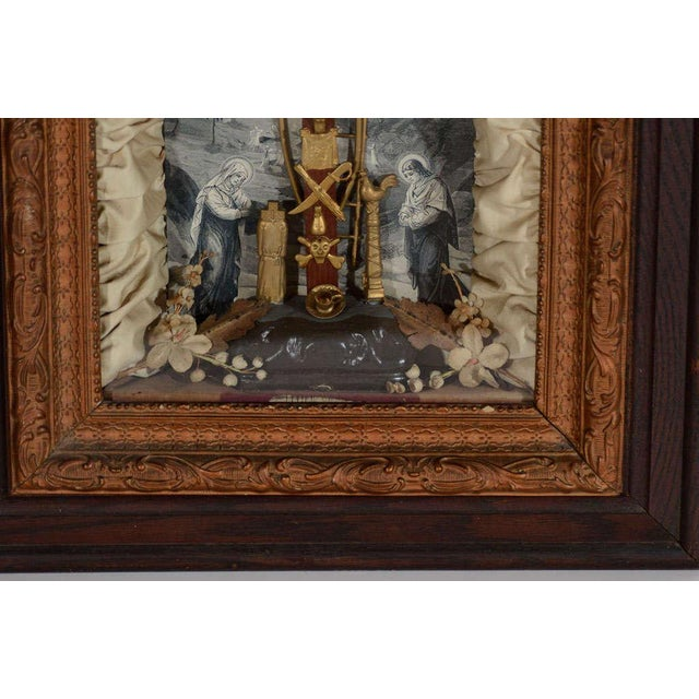 Antique Victorian Religious Shadowbox with Crucifix Scene - Image 5 of 9