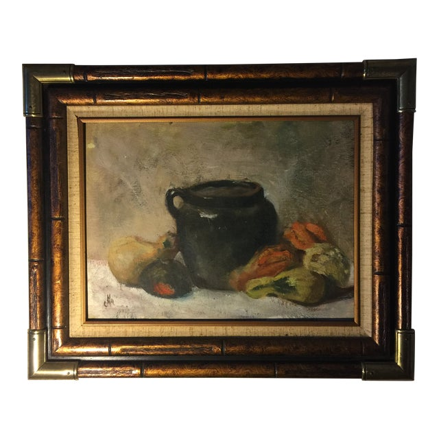 Vintage Still Life Oil on Board Painting Signed by Artist For Sale