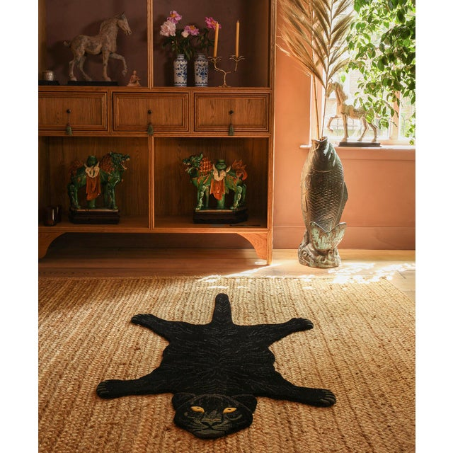 Not Yet Made - Made To Order Doing Goods Fiery Black Panther Rug Large For Sale - Image 5 of 6