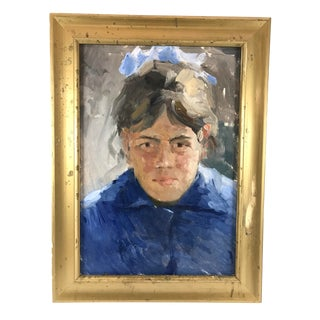 Vintage Mid-Century Impressionistic Oil on Board Portrait of Woman in Blue Painting For Sale