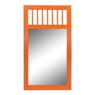 Mid Century Faux Bamboo Mirror, Vibrant Orange Faux Bamboo Mirror, Walnut Mirror For Sale
