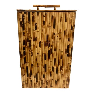 Faux Tortoise Bamboo Hamper For Sale