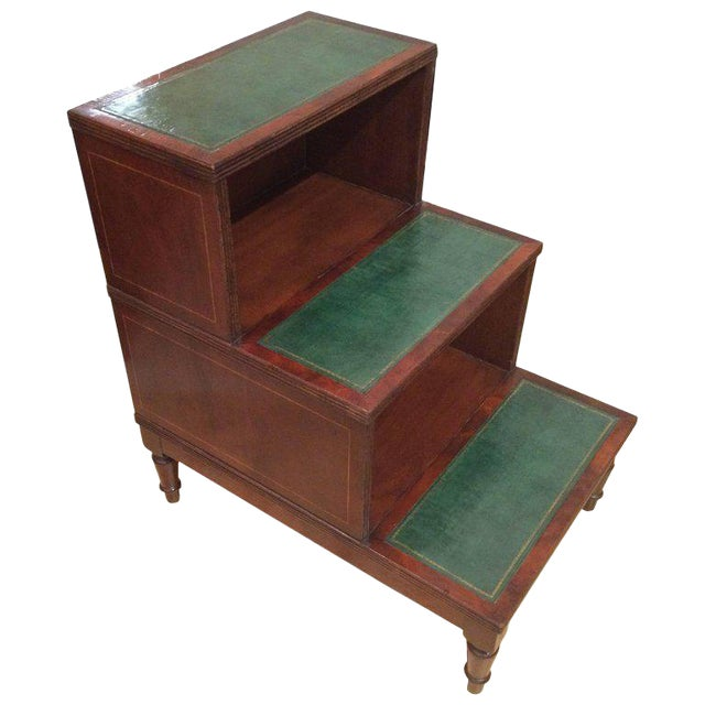 Regency Style Mahogany & Green Leather Library Steps Side Table For Sale