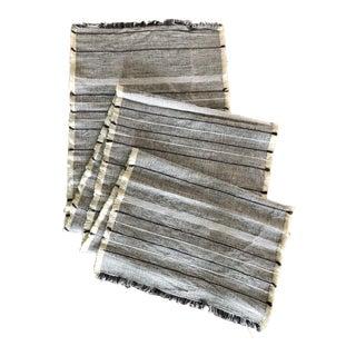 Woven Black & White Linen Table Runner For Sale