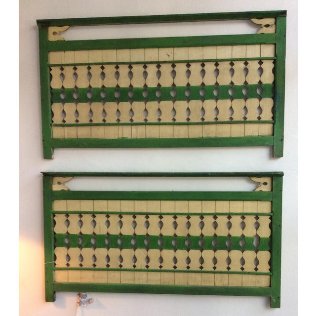Green & Ivory Indonesian Wood Panels - A Pair - Image 4 of 6