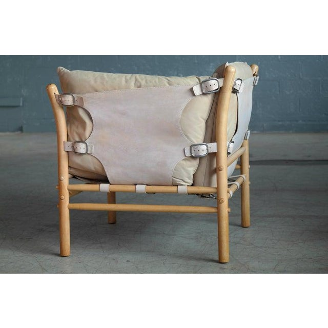 Wood Arne Norell Safari 1960s Chair Model Ilona in Cream and Tan Leather For Sale - Image 7 of 11