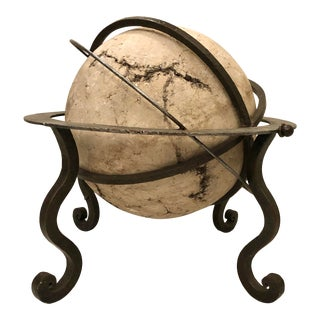 Italian 20th C. Stone Sphere Sculpture on an Iron Stand For Sale